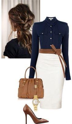 Строгий синий, белая юбка-карандаш и рыжая кожа