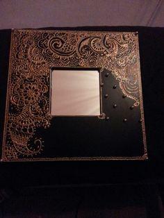 Mirror frame with henna design