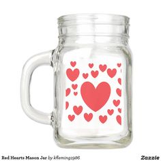 Red Hearts Mason Jar