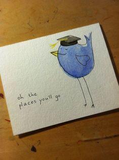 Graduation Birdie Card Congrats by rewersdesigns, $4.00