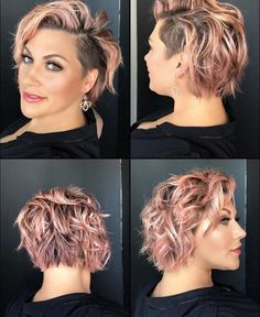 Easy Short Hair Updos That Will Take Eight Minutes or Less – HerHairdos Curly Hair Shaved Side, Shaved Hair Cuts, Short Hair Updo, Undercut Hairstyles Women, Shaved Side Hairstyles, Cool Hairstyles, Haircuts, Short Hair Trends, Short Hair Styles Easy