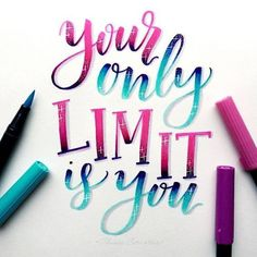 Handlettering Inspiration: your only limit is you Brush Lettering Quotes, Hand Lettering Tutorial, Doodle Lettering, Hand Lettering Quotes, Creative Lettering, Typography Quotes, Typography Letters, Calligraphy Doodles, Calligraphy Handwriting