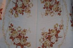 Vintage Tablecloth Roses Brown Tan Cottage schrolls chic stunning ex off white