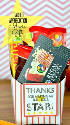 """Teacher Appreciation gift: Movie gift card idea ~ a FREE striped fry box template and Tags that say """"Thanks for Making Me Feel Like a STAR""""... fill with candy and then add a gift card to your local theater."""