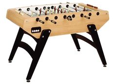 Garlando Wood Grained Foosball Table with Telescopic Rods, Slanted Legs, Abacus Scorers and 10 White Standard Balls.