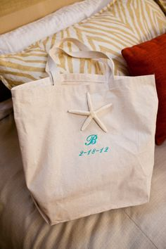 Starfish welcome bag- paint the starfish mint or coral before attaching.  No monogram.