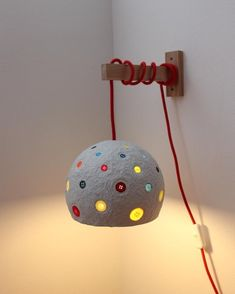 Paper mache wall lamp with multi-colored buttons and red textile cord - sconce - handmade wall light - plug in wall lamp -bed lamp Plug In Wall Lamp, Plug In Pendant Light, Wooden Clothespins, Paper Light, Handmade Lamps, Diy Bed, Cool Lighting, Wall Colors, Wall Decals