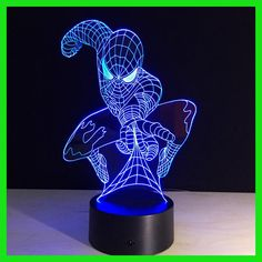 Spiderman shape Night Light 3D Stereo Vision Lamp Acrylic 7 Colors Changing USB Bedroom Bedside Night light Creative Desk lamp
