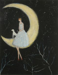 Jeanie Tomanek....a moment to think and dream...whimsical art in pastels ? of a lna,moon goddess