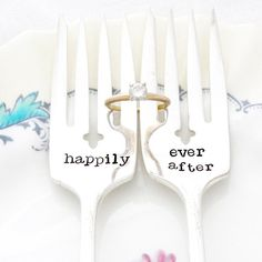Happily Ever After, Hand Stamped Wedding Forks. Unique engagement gift. – milk & honey