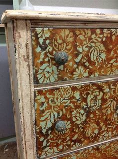 Oh my gorgeousness!! Blue Chalk Paint over a Modern Masters rust finish with our Allover Brocade Furniture Stencil. How delightful is this?!? - Royal Design Studio Buy the stencil: www.royaldesignstudio.com/products/allover-brocade-furniture-stencil