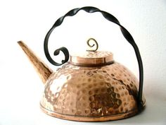 vintage copper kettle, hammered squat or flat shaped kettle with iron handle, vintage french kitchen decor. €49.00, via Etsy.