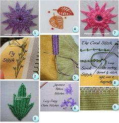 TUTORIALS: (1)Flower stitch 2 (2)Feather stitch, cretan stitch, fly stitch, and variations (3)Kamal kadai leaf (4)Leaf stitch (5)Roman stitch (6)Japanese ribbon stitch and lazy daisy chain stitch (7)Mirror work 2 (8)Coral stitch and scroll stitch (9)Plaited fly filling stitch
