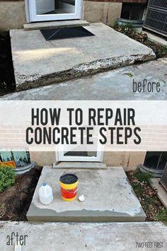 fix chipped concrete steps, concrete masonry, diy, home improvement, home maintenance repairs Repairing Concrete Steps, Cement Steps, Concrete Resurfacing, Stain Concrete, Concrete Furniture, Concrete Countertops, Home Improvement Projects, Home Projects, Home Improvements