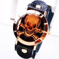 Cool Skulls And Bones Women s Leather Bracelet Watch