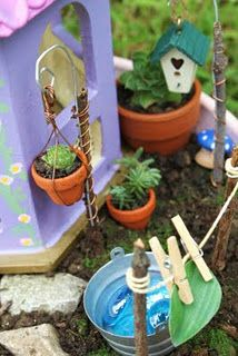 Fairy House Accessories: hanging potted plants