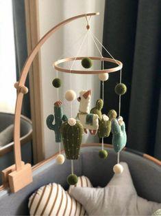 Llama baby mobile cactus mobile llama nursery decor boho   Etsy Baby Boy Rooms, Baby Boy Nurseries, Baby Cribs, Baby Boys, Baby Play, Baby Mobile Felt, Baby Crib Mobile, Baby Room Design, Baby Room Decor