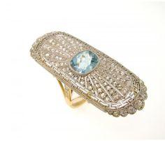 art deco diamond and aquamarine ring