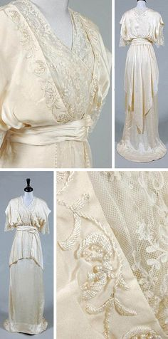 Maison Worth ivory satin weddimg gown, circa 1913. Softly draped bodice with deep V opening edged with embroidered fruits and seed pearls. High cummerbund-like waistband over graduated pearl-edged over skirt, with needle run lace trim and insertions. Via Kerry Taylor Auctions.