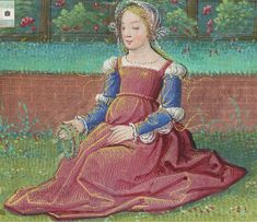 France - Young Love in the Spring - Album of Calendar Miniatures, at Tours, Illuminated by the Master of Claude de France Italian Renaissance Dress, Renaissance Time, Renaissance Fashion, Renaissance Clothing, Medieval Costume, Medieval Art, Medieval Fantasy, Medieval Gown, 16th Century Fashion