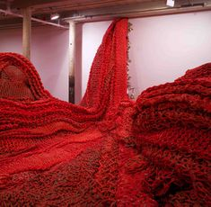 Rope knot installation...red rope waterfall.