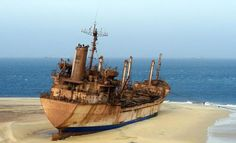 The abandoned ship 'United Malika' off the coast of Mauritania x Good thing they have that anchor set, wouldn't want her to drift off. Stuck with fresh paint Trying to tow it off the . Abandoned Ships, Abandoned Cars, Abandoned Places, Abandoned Vehicles, Abandoned Buildings, Ghost Ship, Old Boats, Shipwreck, Submarines