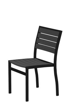 Polywood A100FABGY Euro Dining Side Chair in Textured Black Aluminum Frame / Slate Grey