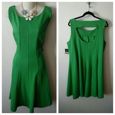 """NEW Gabby Skye cutout fit flare dress 18w 2x Details: A playfully textured fabric in a vibrant green hue lends summery style to a fitted sleeveless dress that flares to a twirly finish. A flirty back cutout bares just enough skin. - approx 40"""" length  - Scooped neck - Unlined -retails $108 - 100% polyester - Machine wash cold, line dry   Runs bigger gabby skye Dresses"""