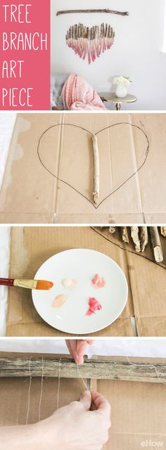 Use branches you find while beach-combing, hiking and walking along the riverbank to make a gorgeous rustic piece of art for any room in your home! It only takes a few supplies and an afternoon to ma(Diy Decoracion Dormitorio) Cute Diy Crafts, Diy Home Crafts, Diy Home Decor, Arts And Crafts, Twig Crafts, Cool Diy Projects, Craft Projects, Branch Art, Branch Decor