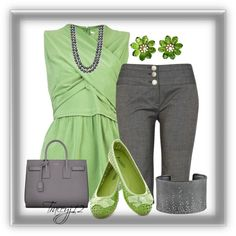 """Green and Gray"" by traceyj12 on Polyvore"