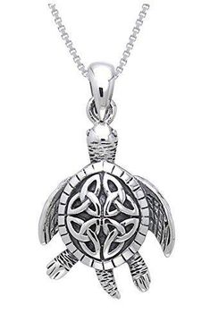 Jewelry Trends Sterling Silver Celtic Turtle Trinity Knot Pendant with 18 Inch Box Chain Necklace: Celtic Jewelry For Women: from - Shop Art Deco Jewelry, Glass Jewelry, Jewelry Necklaces, Gold Jewellery, Jewlery, Jewellery Shops, Jewelry Watches, Turtle Necklace, Sea Turtle Jewelry