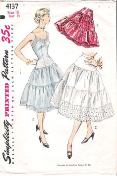 Crinolines and Petticoat!  We hated them things, always showing under our skirts, making us hot, and getting in the way.  Thank God they're in the past!