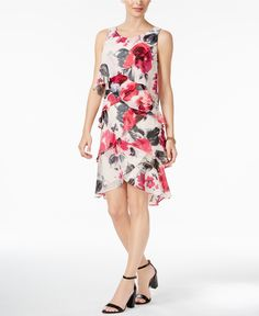 SL Fashions Chiffon Floral-Print Tiered Dress - Spring Dresses - SLP - Macy's