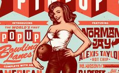 Pin Up Bowling Illustrated Poster Design