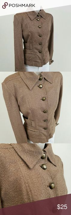 Military style jacket Long-sleeved button front blazer / jacket in pecan brown with a nod to military style.  Attached three-quarter belt, fixed epaulets, welt pockets, and bronze tone buttons.  Lightweight.  Bust 17.5 / waist 15.5 / length 21 inches.  66% polyester, 33% rayon, 1% spandex.  Thanks for visiting my closet!  I add listings every week; come back soon & see what's new! MICHAEL Michael Kors Jackets & Coats
