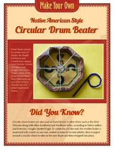 Make your own Native American drum beater, just like the ones seen in the new Molly of Denali PBS program! Native American Instruments, Native American Music, Native American Fashion, Kids Drum Set, Multicultural Crafts, Used Drums, Drums Artwork, Drum Lessons For Kids, Drum Craft