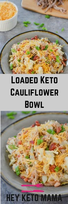 This loaded keto cauliflower bowl is a rich and flavorful, filling meal that will remind you of a baked potato! via This instant pot loaded keto cauliflower bowl is a rich and flavorful, filling meal that will remind you of a baked potato! Ketogenic Recipes, Low Carb Recipes, Vegetarian Recipes, Healthy Recipes, Keto Foods, Keto Diet Meals, Vegetarian Appetizers, Bariatric Recipes, Primal Recipes