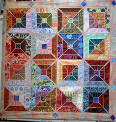 Tile quilt by Kathe at KAW Valley Quilters' Guild - stripes and florals