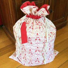 Christmas Santa Sack, Hand Made, Large 54cm x 74cm, Fully Lined Calico & Red Festive by AeviternalCreations on Etsy