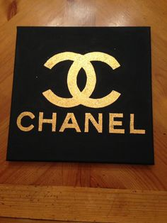 Black and Gold Glitter Chanel Canvas by RebeccaHDesigns, not currently on Etsy but still available by CUSTOM ORDER. Contact me for info on the Etsy page!
