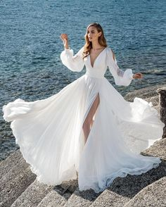 Boho Long Sleeves Wedding Dress for Seaside High Slit Side - This is a made-to-order product. This cool summer wedding gown features a classic V neckline with - Summer Wedding Gowns, Outdoor Wedding Dress, Long Wedding Dresses, Bridal Dresses, Dress Wedding, Fashion Wedding Dress, Wedding Shoes, Bridal Fashion, Fall Wedding