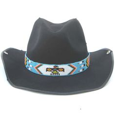 bb3748aa9bb7d Blue White Red Yellow Seed Beaded Thunderbird Beadwork Cowboy Hat band