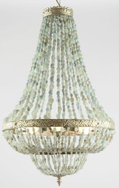 Shop chandeliers and pendants and other antique, modern and contemporary lamps and lighting from the world's best furniture dealers. Lampshade Chandelier, Shell Chandelier, Empire Chandelier, Beaded Chandelier, Vintage Chandelier, Chandelier Lighting, Chandelier Ideas, Mykonos, Chandeliers