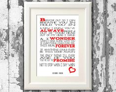 Foo Fighters - Everlong 8x10 picture mount & Print Typography song music lyric for framing (No Frame )