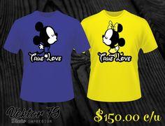 Playeras Mickey Parejas Novios Serigrafia Personalizadas - $ 130.00 en MercadoLibre