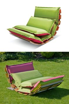 Rocking fabric #garden #armchair OPS! OUTDOOR by Sedes Regia | #design Jonas Jurgaitis