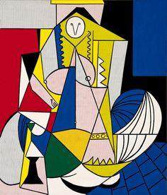 Femme d'Alger by Roy Lichtenstein - 1963  Originally a romantic painting by Eugene Delacriox. Pablo Picasso stylised the painting's shape and composition. Piet Mondrian then responded Picasso's interpretation, by changing the line work and colours. Roy Lichtenstein eventually stepped in to this by stylising Mondrian's painting.   Absolutely love the century-old conversation going on between these artists!