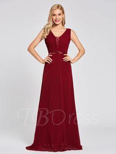 V Neck Sequins A Line Evening Dress a4895ce2e69e