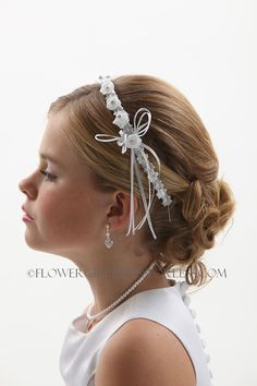 Cute hairstyle and Headband 161-White and Silver $9.99