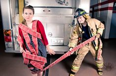 For people who love firefighters Fireman Wedding, Firefighter Wedding, Firefighter Love, Female Firefighter, Firefighter Engagement Pictures, Engagement Couple, Engagement Session, Couple Photography, Engagement Photography